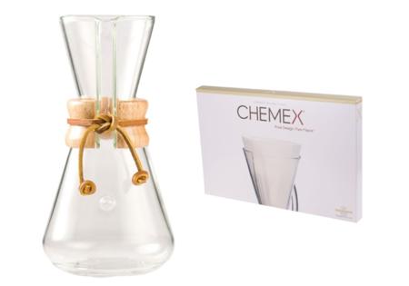 Chemex Classic Coffee Maker 3 filiżanki + Chemex filtry papierowe 3 filiżanki