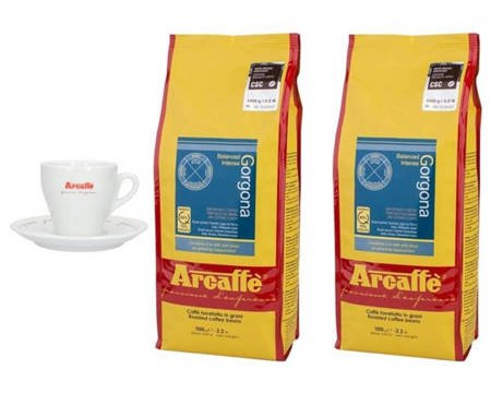 Kawa ziarnista Arcaffe Gorgona 2x1kg + Porcelanowa filiżanka Arcaffe ze spodkiem do cappuccino