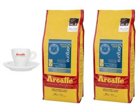Kawa ziarnista Arcaffe Gorgona 2x1kg + Porcelanowa filiżanka Arcaffe ze spodkiem do espresso